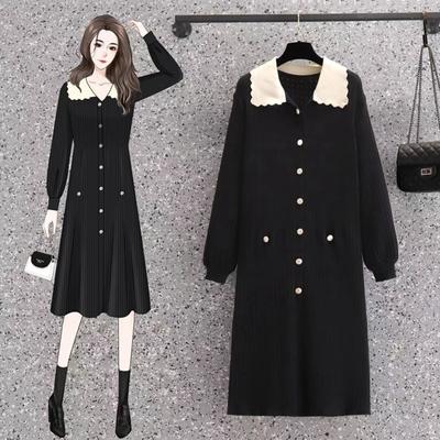 玩美衣櫃撞色花邊衣領溫柔針織連身裙L-4XL(共三色)-KVOLL