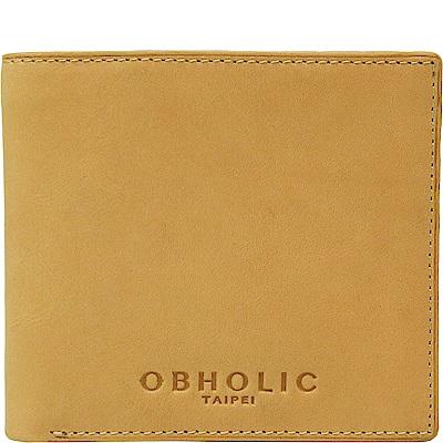 OBHOLIC 駝色牛皮男士錢包皮夾短夾(相框款)