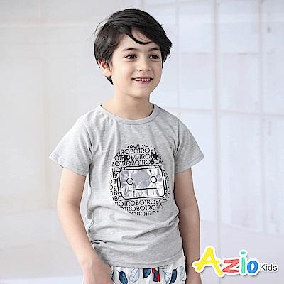 Azio Kids 上衣 亮面機器人字母星星短袖上衣(灰)