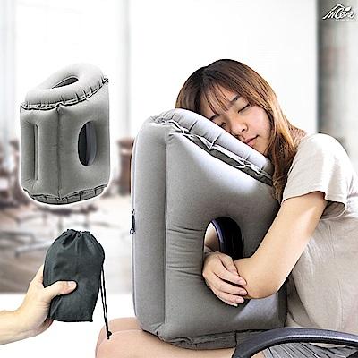 【Incare】超方便多用充氣式旅行趴枕(附束口收納帶)