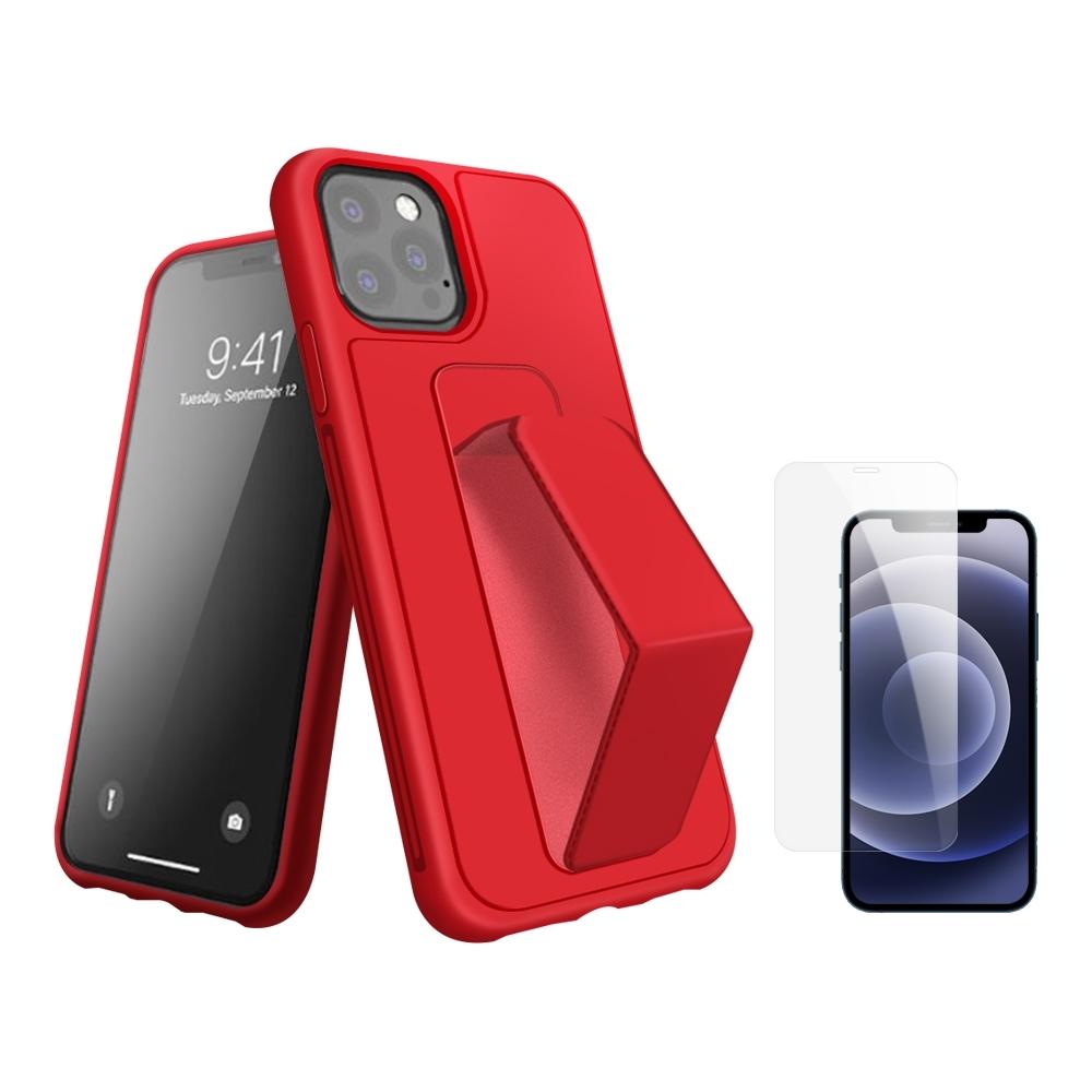[買手機殼送保護貼] iPhone 12 Pro 支架 手機殼 -紅色 贈 手機 保護貼-紅色*1/贈透明貼*1
