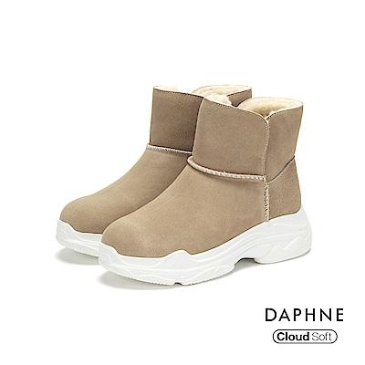 達芙妮DAPHNE 短靴-素色長毛內裡佐雲軟厚底短靴-卡其