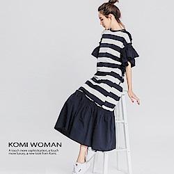【KOMI】海洋風藍白條紋棉荷葉長洋裝