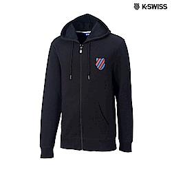 K-SWISS Shield Logo JKT刷毛連帽外套-男-黑