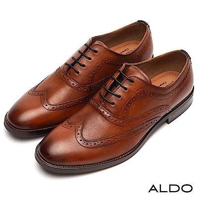 ALDO 原色真皮英式雕花綁帶式木紋粗跟紳士男鞋~內斂焦糖