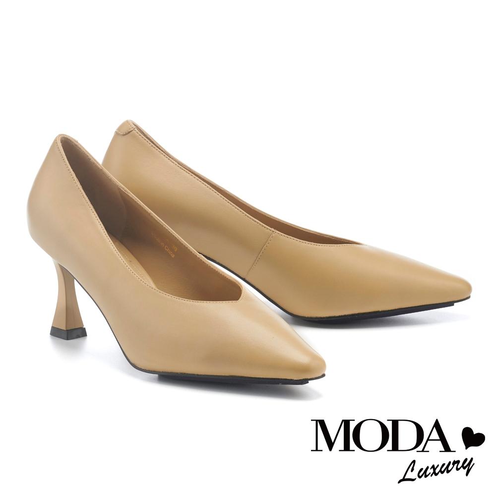 高跟鞋 MODA Luxury 極簡氣質純色羊皮尖頭高跟鞋-綠