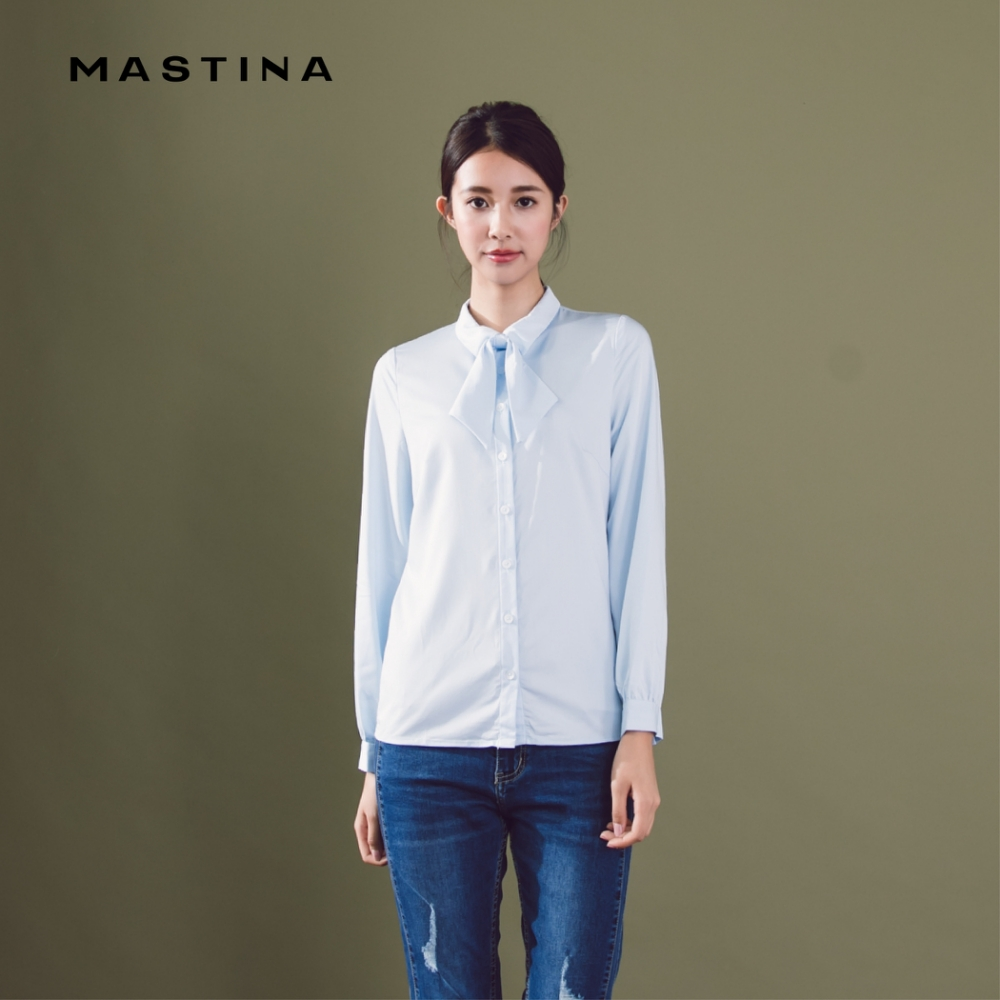 【MASTINA】經典領結百搭-襯衫(白色)