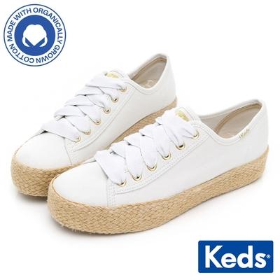 Keds TRIPLE KICK 有機棉夏日草編厚底鞋-白