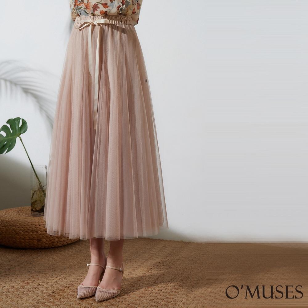 OMUSES 多層次蕾絲網紗長裙