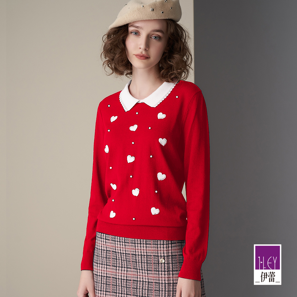 ILEY伊蕾 浪漫愛心珍珠針織上衣(藍/紅)