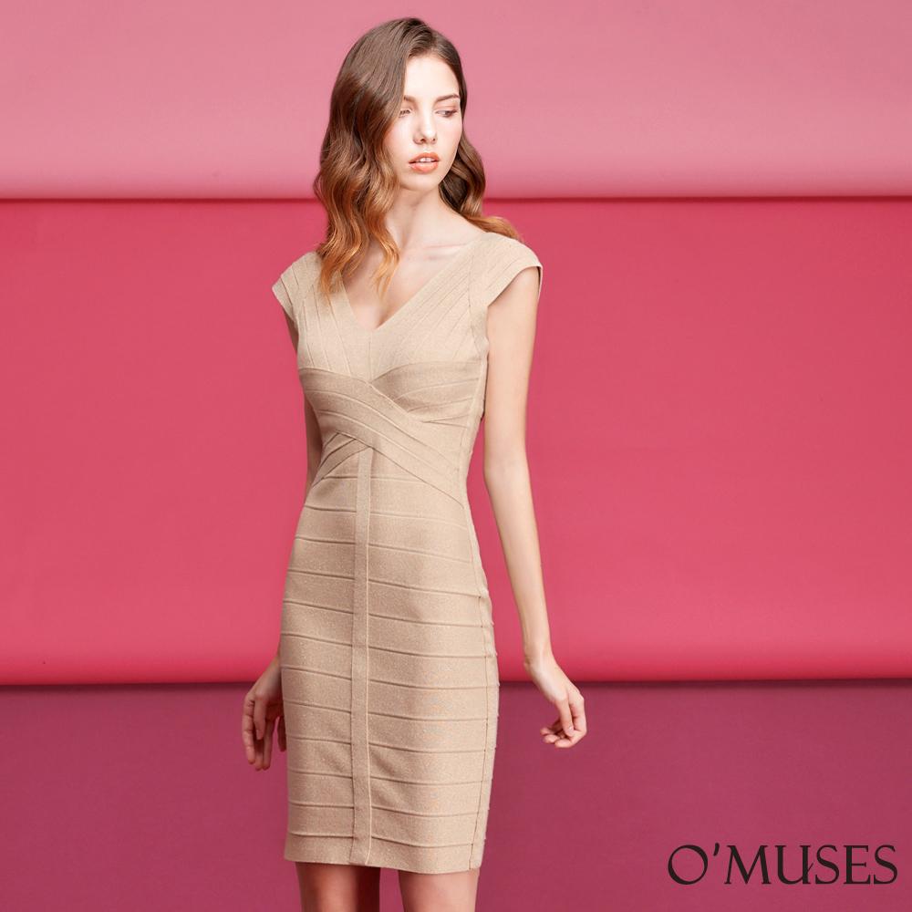 金蔥繃帶包臀洋裝-OMUSES