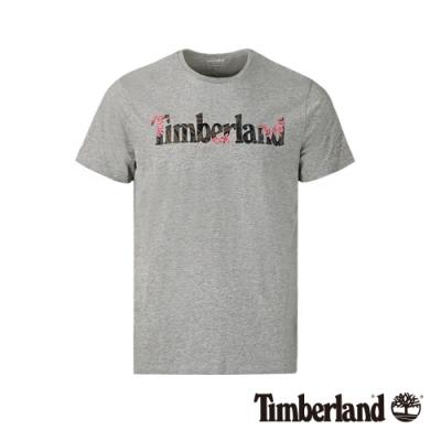 Timberland 男款中灰色品牌英文短袖圓領T恤|A1X1G