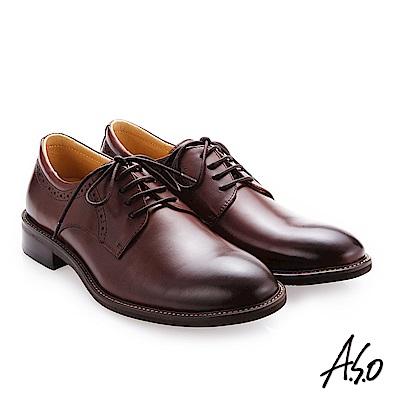 A.S.O 職人通勤 綁帶蠟感牛皮紳士鞋 咖啡
