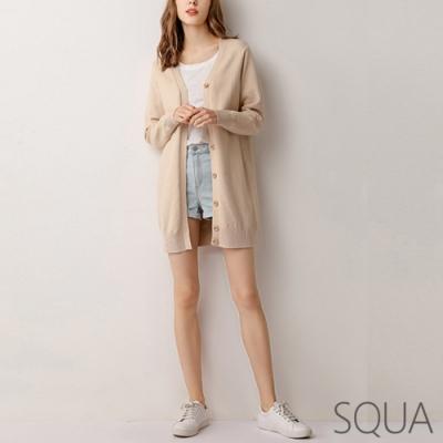 SQUA 坑條排扣長版針織外套-三色-(S~XL)