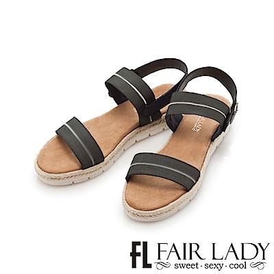 Fair Lady 鬆緊寬帶一字厚底涼鞋 黑