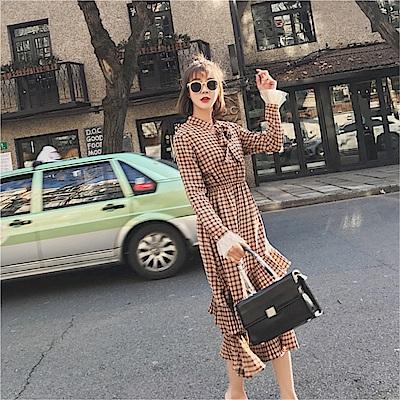 DABI 韓國風蝴蝶結領小清新荷葉復古外穿長袖洋裝