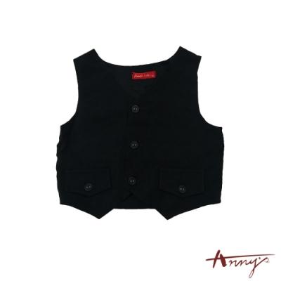 Annys帥氣排扣雙假口袋背面可調正式西裝背心*2284黑