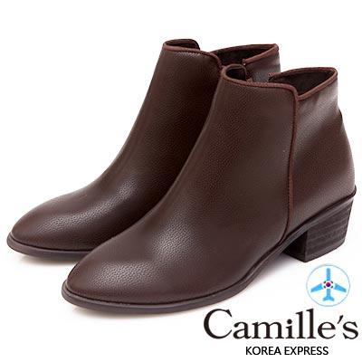 Camille's 韓國空運-簡約剪裁織帶滾邊側拉鍊短靴-咖啡