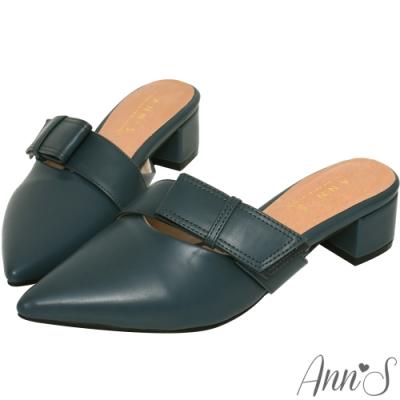Ann'S氣質蔓生-不破內裡方結鞋帶顯瘦粗跟尖頭穆勒鞋 -深藍