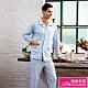 睡衣 針織棉男性長袖褲裝睡衣(R88222-10藍灰線條) 蕾妮塔塔 product thumbnail 1