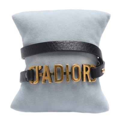 DIOR 經典JADIOR LOGO復古金屬牛皮雙圈手環(黑)