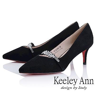 Keeley Ann 高貴典雅~唯美水鑽腳背帶全真皮中跟鞋(黑色-Ann)