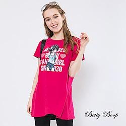 Betty Boop貝蒂 膠印貝蒂交叉傘襬柔棉上衣(共兩色)
