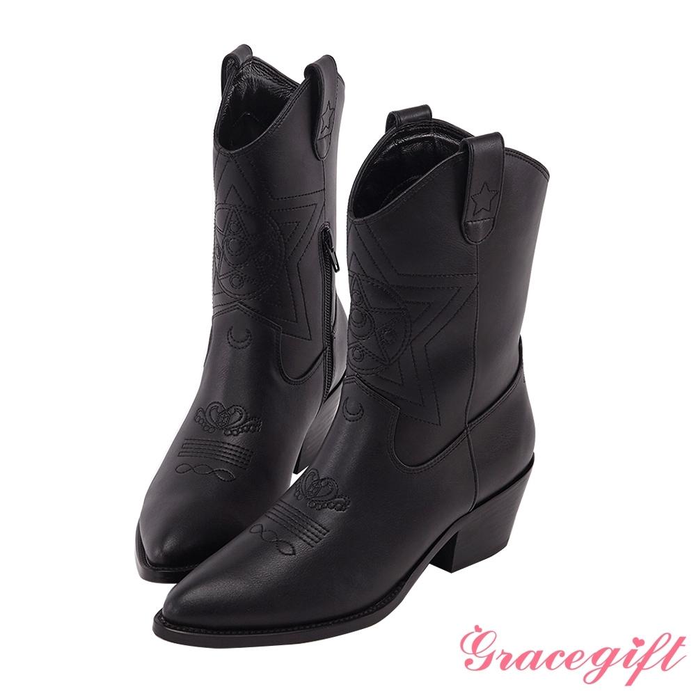 Grace gift-美戰變身器西部中跟靴 黑