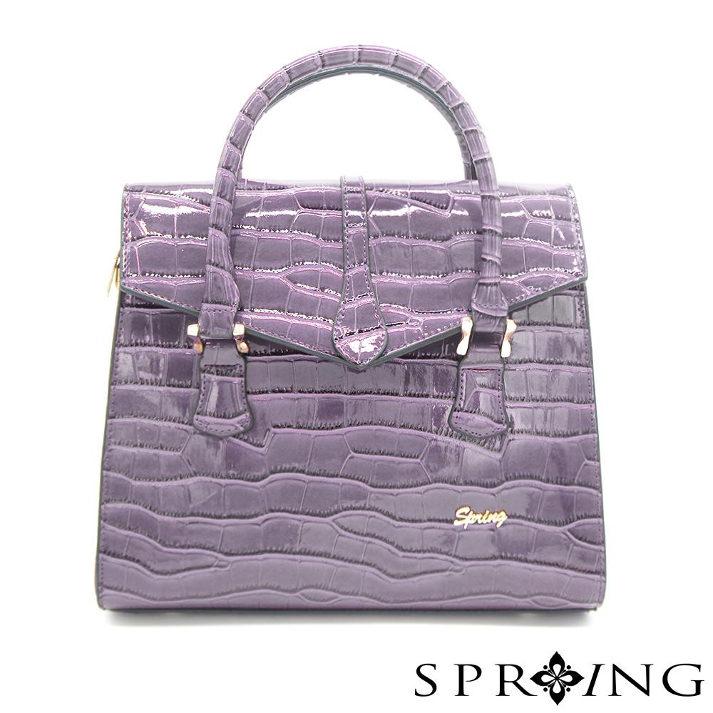 SPRING-燦爛的月光鱷魚壓紋托特包-氣質紫灰