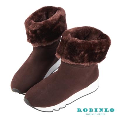 Robinlo 嚴選牛絨厚毛中筒雪靴 巧克力色