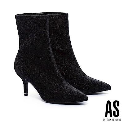 襪靴 AS 華麗暗黑金蔥尖頭高跟襪靴-黑