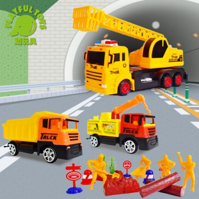 Playful Toys 頑玩具 慣性燈光音樂工程車套裝(回力慣性工程車組)