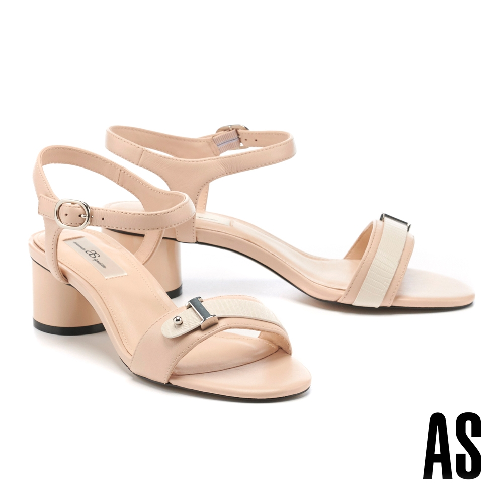 涼鞋 AS 時髦撞色全羊皮Y字踝帶高跟涼鞋-粉