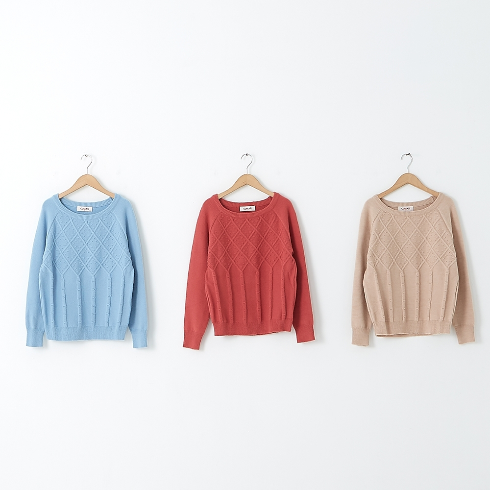 【CUMAR】素色簡約菱格造型-針織衫(三色/魅力商品/版型適中)