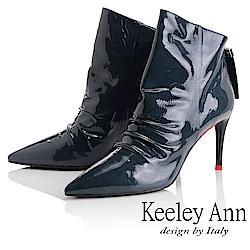 Keeley Ann 騎士風格~素面尖頭細跟全真皮短靴(藍色-Ann系列)