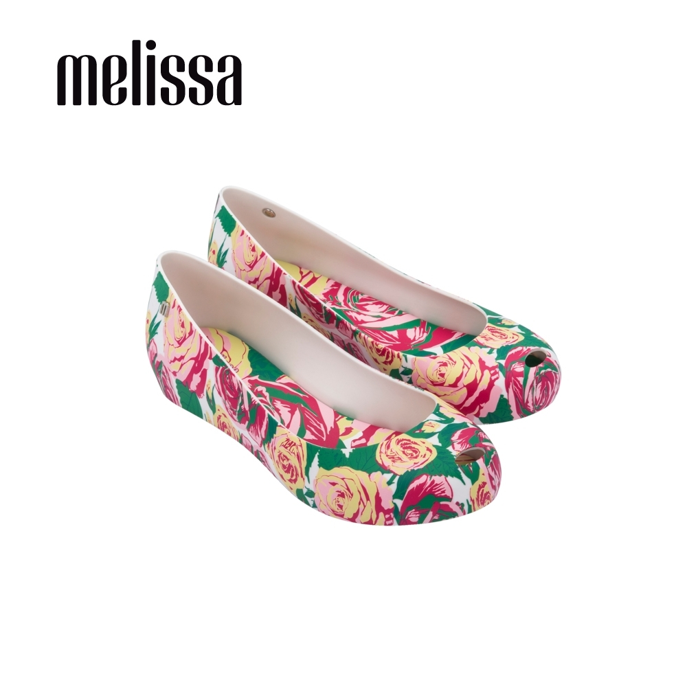 Melissa-ULTRAGIRL 滿版印花內增高魚口娃娃鞋-玫瑰粉
