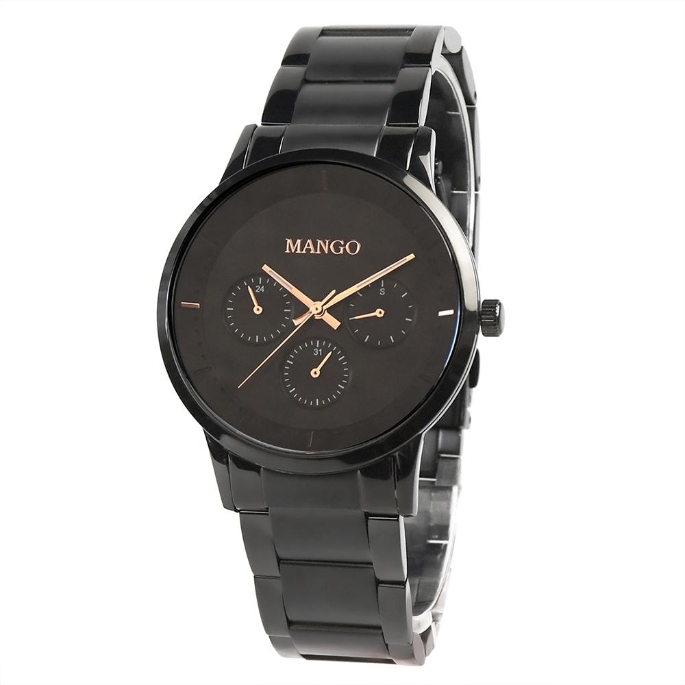 MANGO都會雅痞時尚對錶-黑色/43mm