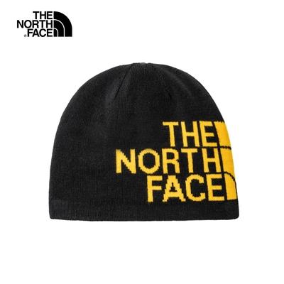 The North Face北面男女款黃黑色雙面休閒保暖毛帽 AKNDAGG