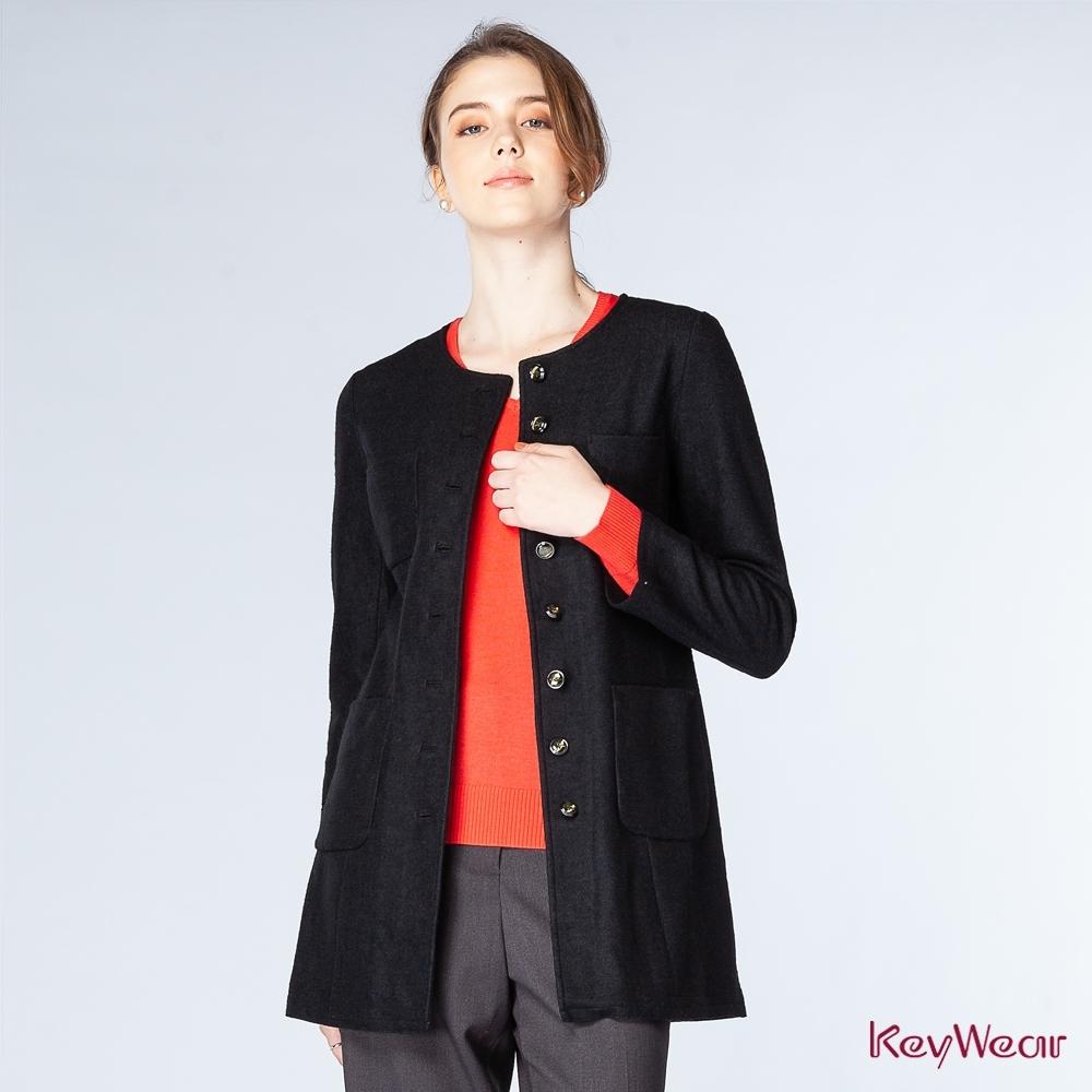 KeyWear奇威名品     中長排釦修身大衣-黑色