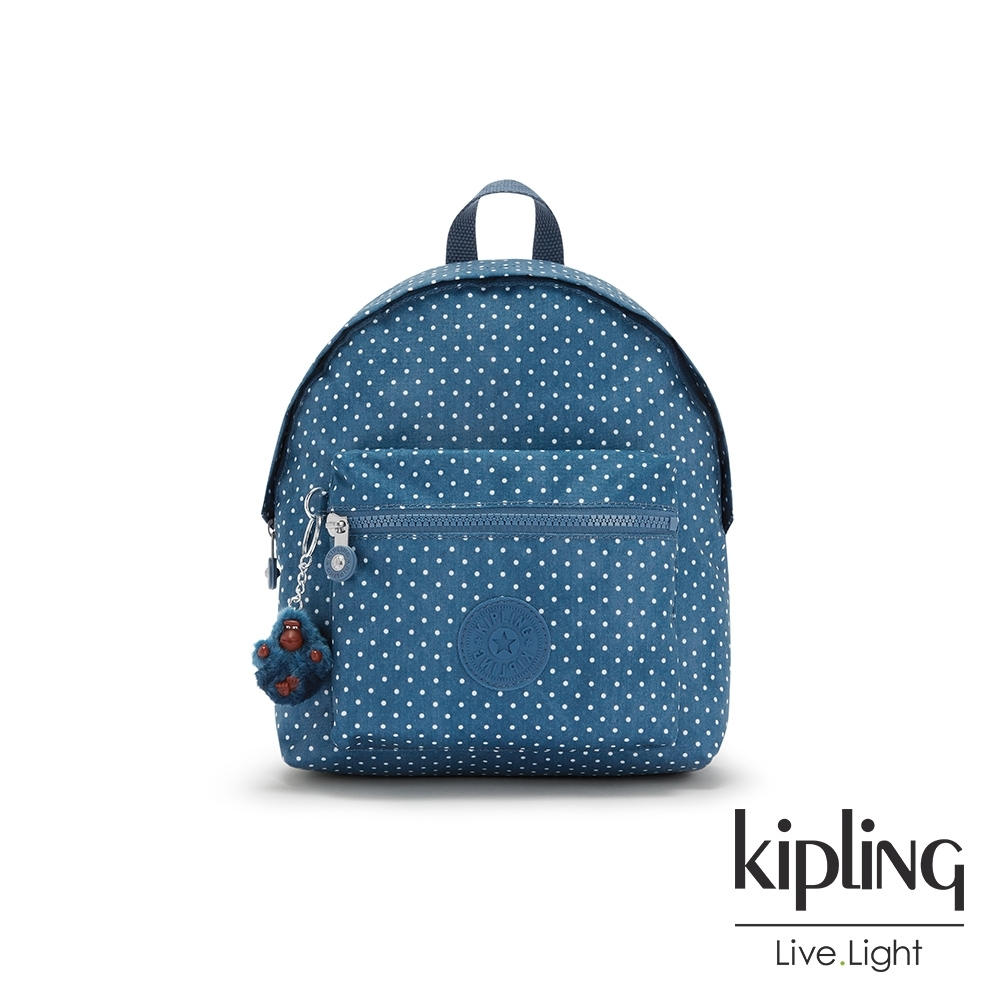 Kipling 復刻單寧水玉藍造型簡約後背包-REPOSA