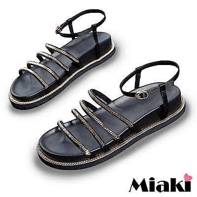 Miaki-涼鞋 金屬時尚平底羅馬涼鞋