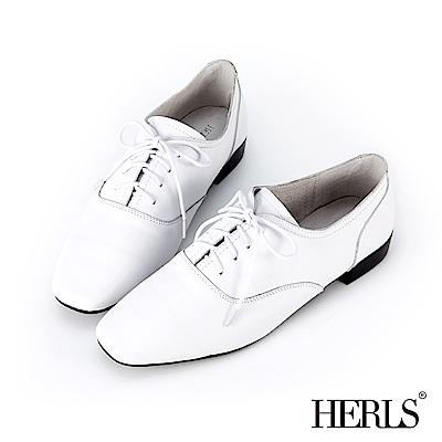HERLS 經典重現 全真皮百搭素面方頭牛津鞋-白色