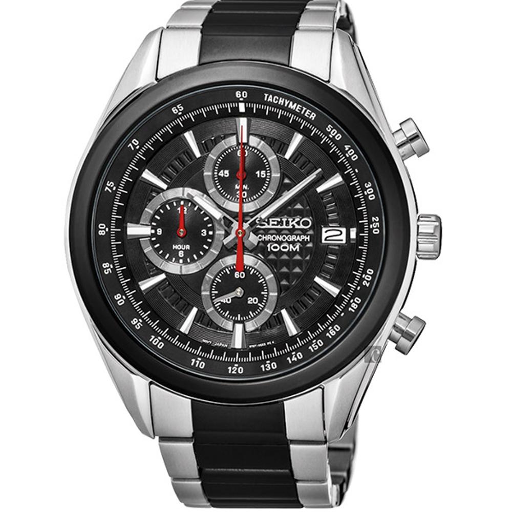 SEIKO 精工飆速快感大錶徑運動腕錶/45MM/黑/8T67-00A0R