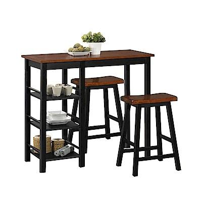 AT HOME-美式輕工業胡桃色3.8尺吧檯桌椅組(1桌2椅)