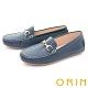 ORIN 復古真皮金屬馬銜釦 女 平底鞋 藍色 product thumbnail 1