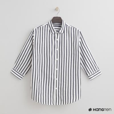 Hang Ten - 男裝 - 率性直條紋七分袖襯衫 - 藍