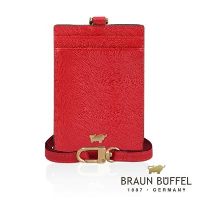 BRAUN BUFFEL - 奧菲莉亞P系列馬毛紋證件夾 - 胭紅