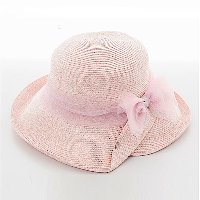ELLE蝴蝶結裝飾遮陽帽戶外出遊草帽_粉/灰