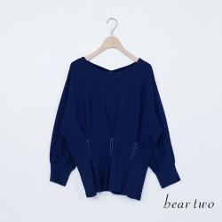 beartwo-收腰造型上衣(附腰帶)-藍