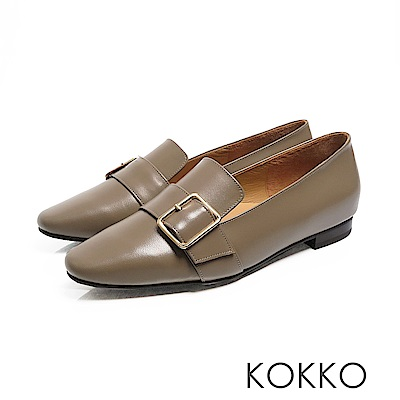 KOKKO -  小方頭羊皮飾帶舒壓樂福平底鞋 - 森林綠色